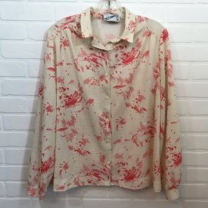 Vintage Miss Accent Act III Button Down Cream Red